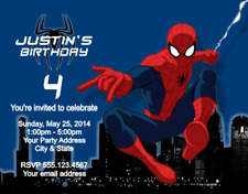 Spiderman Spider Man Birthday Party Invitations Personalized Custom