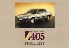 Peugeot 405 Prices & Options 1988 UK Market Leaflet Brochure GE GL GR SRi GTX