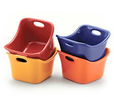 RACHAEL RAY BUBBLE & BROWN SET OF 4 10oz SQUARE SINGLES RAMEKINS-Assorted Colors