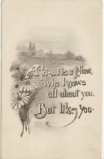 Antique GREETINGS POSTCARD c1907-20 Friend is a Fellow Who Knows but Likes You
