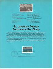 20 cent ST. LAWRENCE SEAWAY 1984 SOUVENIR PAGE SCOTT # 2091 SP649 HISTORICAL
