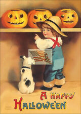 older postcard A HAPPY HALLOWEEN small boy dog pumpkins as a picture