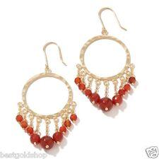 Technibond Round Chandelier Red Agate Gemstone Drop Earrings 14K Clad Silver 925