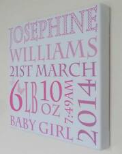 Personalised Baby Girl Canvas Print, Birth/Christening Gift, Unique Keepsake
