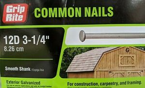 "12D 3-1/4"" Exterior Galvanized Common Nails - 5 POUNDS - Smooth Shank - 5lbs"