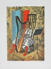 """""""PLAYING THE HARP"""" BY ALAUX, JEAN-PIERRE EA SIGNED LITHOGRAPH 18 X 12 W/ CoA"""