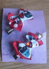 2 x Hand -made cupcake mouse Minnie bow hair clips -