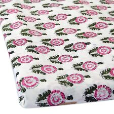 Indian Hand Block Floral Printed Cotton Fabric Dress Sewing Material 5 Yard II8