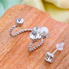 Ear Clip Ear Stud Earrings Cool Cute 1 Pair Elegant Women Fake Pearl Rhinestone
