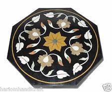 "23"" Marble Octagon Side Coffee Table Top Inlaid Gems Mosaic Art Patio Decor H772"