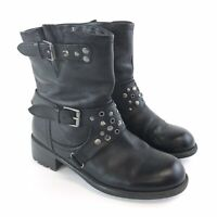 Limited Collection UK3 Ladies Black Leather Ankle Buckle Studded Biker Boots