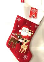"""Rudolph Red Noise Reindeer Santa Abominable Snowman Christmas Stocking 18"""""""