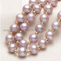 AAA  9-10MM NATURAL SOUTH SEA GENUINE PURPLE PEARL NECKLACE 14K Gold Clasp