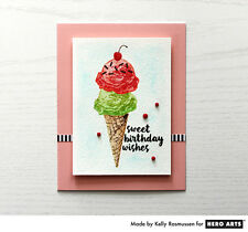 Hero Arts clear acrylic stamps & matching die- COLOR LAYERING ICE CREAM cone