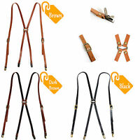 Leather Suspenders X-Back Retro Braces Belts Brass Clip-on BLACK,BROWN,D-BROWN !