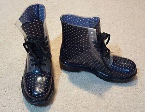 DIRTY LAUNDRY Black w/ Polka Dots Jelly Combat RAIN BOOTS size 7