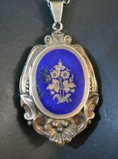 Antique Victorian Deco Gilded Gilt Silver 835 Enamel Photo Picture Locket Pendan