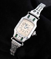 Vintage 1920's Ladies Art Deco 14K Solid Gold Diamonds and Emeralds Watch - RUNS