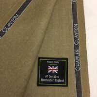 CHARLES CLAYTON Beige Super 140's Wool & Mongolian Cashmere flannel Suit Fabric.
