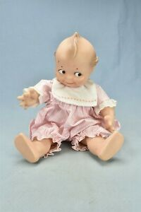 Vintage CAMEO KEWPIE DOLL WEARING PINK & WHITE STRIPED ROMPER ROSE O'NEILL 00977