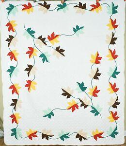 """GORGEOUS Vintage 40's """"Autumn Leaves"""" Applique Antique Quilt ~NICE FALL DESIGN!"""
