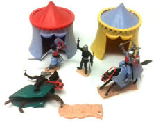 RARE Vintage British 70's Toy Soldier KNIGHT figures & Tent accessories by TIMPO