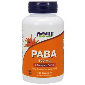 NOW® PABA 500mg (Para-aminobenzoic Acid) - 100 Caps Made in USA FREE SHIPPING