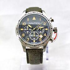 NEW Nautica N16579G Black Chronograph Dial, Dark Green Band Men Watch