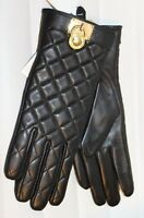 0Michael Kors Leather Quilted Padlock Gloves Black Gold Tech Womens MSRP $98 NEW