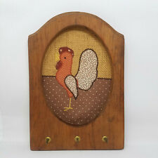 Vintage Chicken Hen Rooster Hanging Wood Key Rack 3 Hooks Fabric Farmhouse Decor