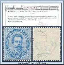 PROPOSTA 1879 Italia Regno Umberto c. 25 azzurro n 40 Cert. Raybaudi Centrato **