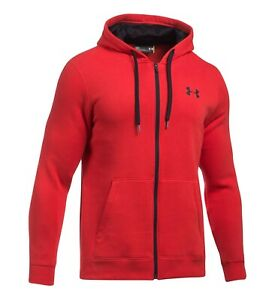 Under Armour Rival Fleece Fitted Full-Zip Hood Red 1302290-600 Mens Hooded Sweat