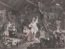 "1833 Fine Hogarth Engraving- ""Strolling Players Rehearsing in a Barn"" - Presbury"