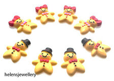 10 GORGEOUS MR & MRS GINGERBREAD MAN CABOCHONS KAWAII DECODEN - FAST SHIPPING