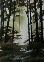 ACEO ATC original miniature painting ' Forest Light ' by Bill Lupton