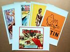 Lot of 5 Assorted Canvas Prints Travel Food Art Vintage Poster Retro Style (CS2A