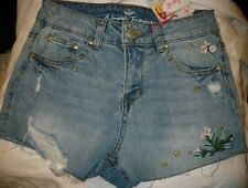 Almost Famous Women's Juniors High Rise Denim Shorts Size 11 Embroidered Flowers