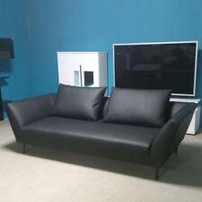 Sofa Rolf Benz  in Leder schwarz Sofabank 176 mit 2 Kissen Breite 220 cm