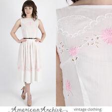 Vintage 50s L'Aiglon White Eyelet Dress Sheer Floral Embroidered Wedding Mini S