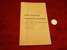 """NEAT OLD VTG WWII ERA """"LONG DISTANCE TELEPHONE NUMBERS"""" BOOK, AT&T-SBC TELEPHONE"""