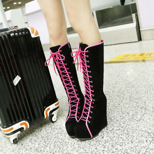 Women Lace Up High Wedge Heels Knee High Boots Platform Combat Bootie Prom Shoes