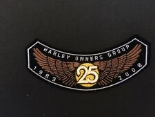 HARLEY DAVIDSON OWNERS GROUP PATCHES ROCKERS 25 YEAR ANNIVERSARY 2008