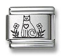 Laser Italian Charms Kitty Cat Fit 9 mm Stainless Steel Link Bracelets Flower
