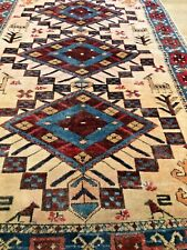 """3'4""""x5'4&# 034; 1930s' Turkish Hand knotted wool rug on ivory field/beautiful colors."""