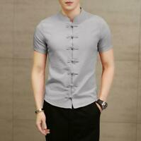 Chinese Mens Retro Stand Collar Slim Casual Shirts Short Sleeve Coats Top Blouse