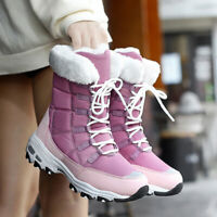Winter Women Shoes Snow Boots Fur-lined Outdoor Mid Calf Shoes Warm Ankle Size