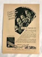 RARE Vintage 1931 LIFE SAVERS AD Menthol Cough Drop Advert Richard Arlen reverse