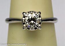 0.66 ct Old European Diamond Solitaire 14K White Gold Engagement Ring VTG GIA