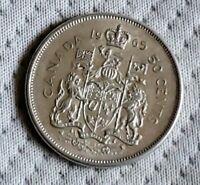 1965 Canada 50 Fifty Cent Half Dollar Silver Queen Elizabeth II Front Circulated