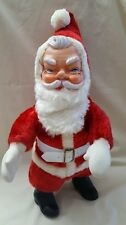 """Vintage Christmas Plush Stuffed Santa Claus Doll Standing Rubber Face 18"""" tall"""